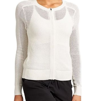 Athleta Womens Mesh Zip Sweater
