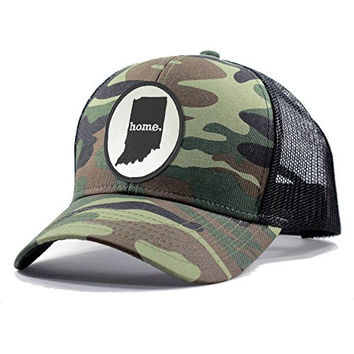 Homeland Tees Men's Indiana Home State Army Camo Trucker Hat - Black