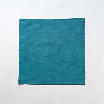 Solid Teal Chambray Pocket Square