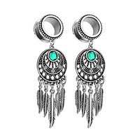 BodyJ4You Pair Surgical Steel Screw-Fit Tunnel Dreamcatcher Dangle Tribal Plug 0G (8mm) Stretcher Gauges
