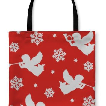 Tote Bag, Christmas Pattern With Silhouettes Of Angels Trumpets Snowflakes And Stars