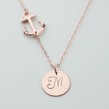 Anchor initial Necklace. Sideways rose gold filled Necklace. gift to family and friends, symbolizing the strength of your relationship