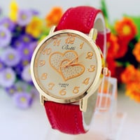 Women's Romantic Double Heart Fashion Wrist Watch
