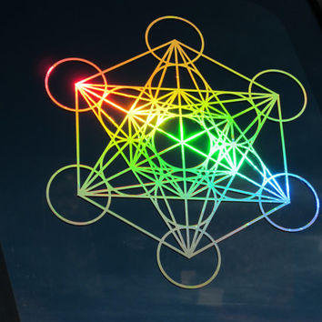 Metatron's Cube - Prismatic Rainbow Gold Vinyl Sticker/Window Decal