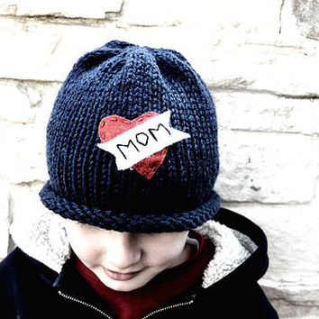 Love Mom Navy Winter Hat by beliz82 on Etsy