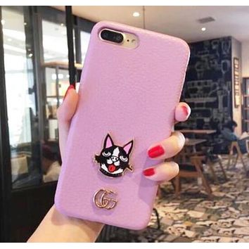 GUCCI Trending Stylish Double G Dog Head Pattern Mobile Phone Cover Case For iphone 6 6s 6plus 6s-plus 7 7plus iPhone8 iPhone X Pink I12789-1