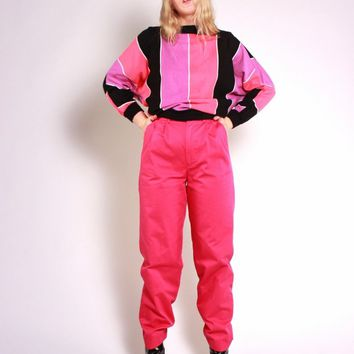 Hot Pink Pleated Trousers / XS S
