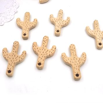 newcoming 10pcs 80*50mm engraving cactus beech wood plant shaped wooden teether teething charm natural baby toy EA313a