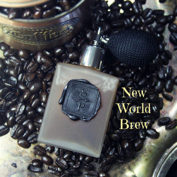 Natural coffee perfume spray - coffee chocolate vanilla nutmeg - NEW WORLD BREW - Rare Alchemy Collection - glass bottle spray 2 ounce bulb