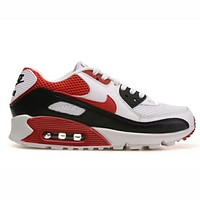 """NIKE"" AIR MAX 90 Trending Unisex Personality Running Movement Shoes Sneakers White Red Black B-CSXY"