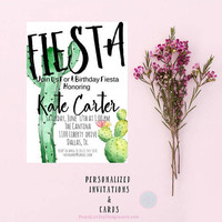 DIGITAL INVITATION Fiesta Invitation Fiesta Birthday Invitation Fiesta Birthday Party Fiesta Decor Cactus Print Cactus Invites Party Invite