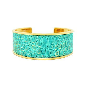 Turquoise Gold Metallic Leather Bracelet Cuff Wide