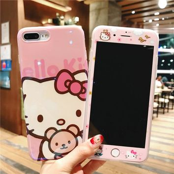 Cute Hello Kitty Blu-ray Phone Case Tempered Glass Film For iPhone X  iPhone 6G 6S 6P 6SP 7 7P 8 8P