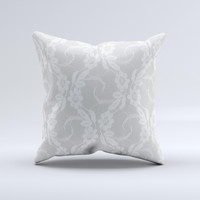 White Floral Lace Ink-Fuzed Decorative Throw Pillow