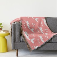 Mermaids Coral and White Throw Blanket