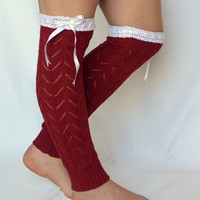 leg warmers- red leg warmers with lace and ribbon chunky leg warmers boot socks boot cuffs birthday gifts valentines day gifts