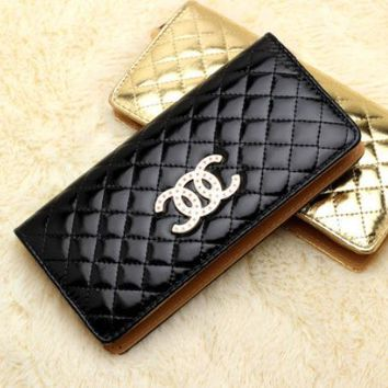 Fashion ladies handbag high-end candy color wallet Lingge women's wallet CC bright handbag