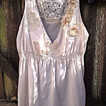 Womens Cami BabyDoll Top Ecru -Upcycled  Shabby Chic Bohemian Gypsy Vintage Crochet and Lace with pearl buttons by CrazyGirlsClothing