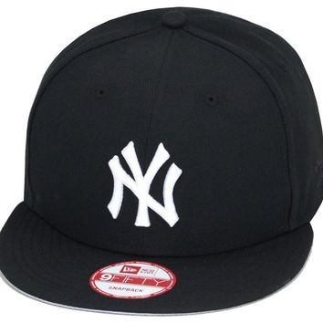 "New Era New York Yankees Snapback Hat ALL BLACK/White ""NY""/Grey Bottom"