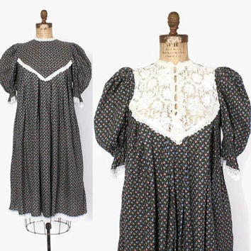 Vintage 70s GUNNE SAX DRESS / 1970s Black Floral Cotton Puff Sleeve Lace back Midi Tent Dress  Midi
