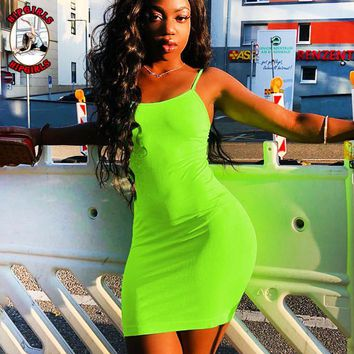 New fashion solid color straps dress women Fluorescent Green