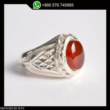 Sterling Silver Red Onyx (Aqeeq)  Ring Persian Antique Design Genuine Gemstone Size US 10 (Re-sizing is available for free)