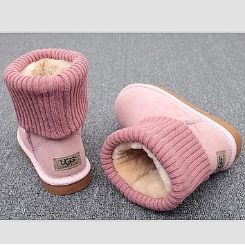 UGG Fashion Plush leather boots boots in tube Boots Pink
