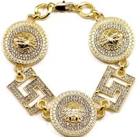 Medusa Bracelet New 9 1/8 Inch 3 Head And Two Square Insert Iced Out Bracelet With 10mm Cuban Link Chain Style Gold Color Chris Brown