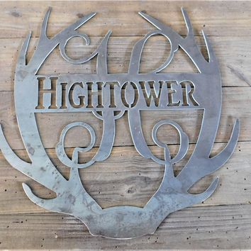 Metal Wall Decor, Metal Door Hanger, Farm House Decor, Rustic Letter, Personalized Door Hanger, Antler Monogram, Metal Wall Art, Cabin Decor