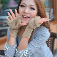 Winter Knitted Fingerless Gloves Faux Rabbit Fur Wrist Hand Warmer Gloves = 1931434564