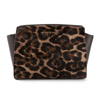 Michael Kors Selma Leopard Print Crossbody/Shoulder Bag