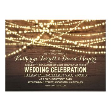 Barn wood string lights rustic wedding invitations