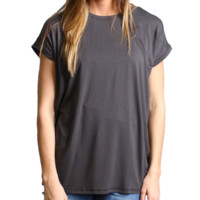 Dark Gray Rolled Sleeve Piko Short Sleeve Top