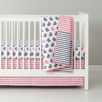 Baby Bedding: Grey Pink Bunny Crib Bedding in Girl Crib Bedding | The Land of Nod