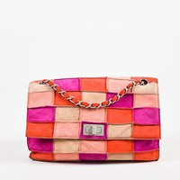 "Chanel Pink and Beige Suede Leather ""Mademoiselle Patchwork Reissue"" Flap Bag"