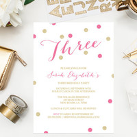Pink and Gold Glitter Birthday Party Invitation Glitter Invitations Printable Invitations Confetti Invitations