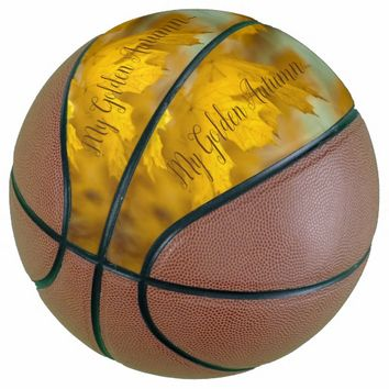 Yellow autumn maple leaves. Add text. Basketball