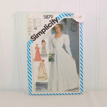 Vintage Simplicity 5879 Gunne Sax Wedding Dress Sewing Pattern (c. 1983) Misses' Size 10, Misses' Petite, Vintage Bridesmaid, Boho Styling