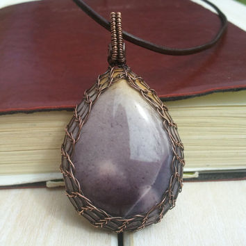 Mookaite  Pendant - Wire Wrapped Pendant - Wire Wrapped Jewellery Handmade - Wire Jewellery