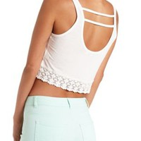 Crochet-Trim Strappy Back Crop Top by Charlotte Russe