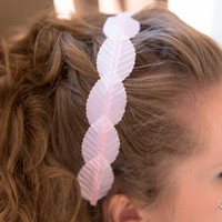 Pastel Pink Leaf Headband, Pink Leaf Crown, BoHo Headband, Kawaii Headband, Kawaii Hair Accessories, Bridal Headband, Bridesmaid Hair Piece