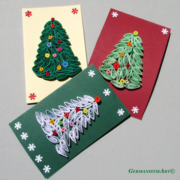 Christmas Quilling Set of 3 Quilled Paper Handmade Cards, with Christmas Tree Motifs