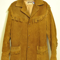 Vintage Schott Leather Jacket 1970s Schott Bros Western Rust Brown