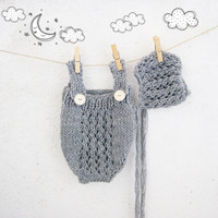 Gray Hand Knit Baby Romper and Bonnet Set / Knitted Baby Outfit / Newborn Photo Prop / Baby Overall Set / Baby Onesuit