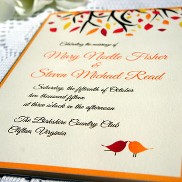 Fall Love Birds Wedding Program - Fall Wedding, Wedding Ceremony Programs, Love Birds, Wedding Program - DEPOSIT