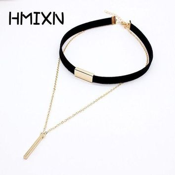 DCCKU62 2017 New Black Velvet Choker Necklace Strip rope Chain Bar Square tube strip Chocker Women collar mujer collier femme ras du cou