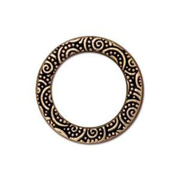 "94-3135-26 - TierraCast Pewter Link, 3/4"" Spiral Ring, Antique Gold 