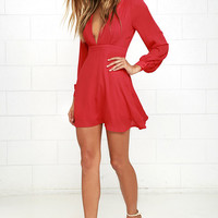 Ecstatic Harmony Red Long Sleeve Dress