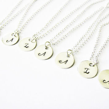 Wedding Jewelry, Monogram Necklace, Initial Jewelry, Gift SET OF SEVEN, Personalized Initial Necklace, Monogram Necklace, Bridesmaid Gifts
