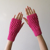 Hand Knit Fingerless Gloves in Orchid Pink - Trinity Stitch Arm Warmers - Seamless - Winter Fashion - Ready to Ship